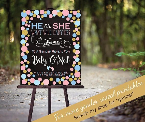 "Gender Reveal ""He or She"" Welcome Sign 