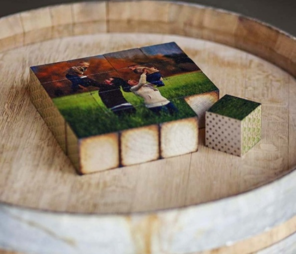 On sale for $84 until 4/26/13. 8x8 PhotoBlock Puzzle printed on wooden blocks. 16 pieces with two custom sides. Go to www.facebook.com/myPhotoBarn to claim the 40% OFF offer + FREE SHIPPING!