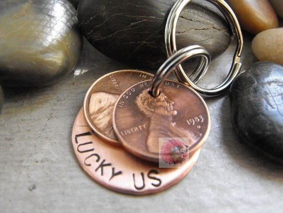 Thank you for choosing our penny keychains...  Here is a great way to celebrate your special days and carry them with you. A wonderful gift for a loved one, A beautiful keychain with two pennies.. I will find your lucky penny year (birth year, favorite year, year you met, year your baby was born, or the year you got married) let me know which years you want and I will do my best to find the pennies for you!! At the moment I have pennies from 1960s to 2016, if I dont have the year you need I…
