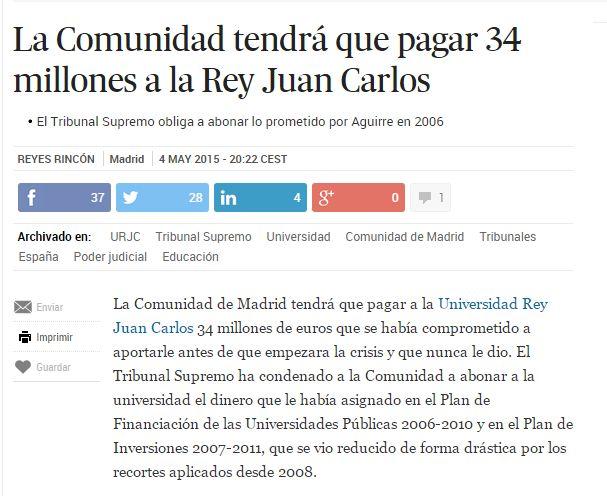 La Comunidad tendrá que pagar 34 millones a la Rey Juan Carlos / @el_pais   #universidadencrisis