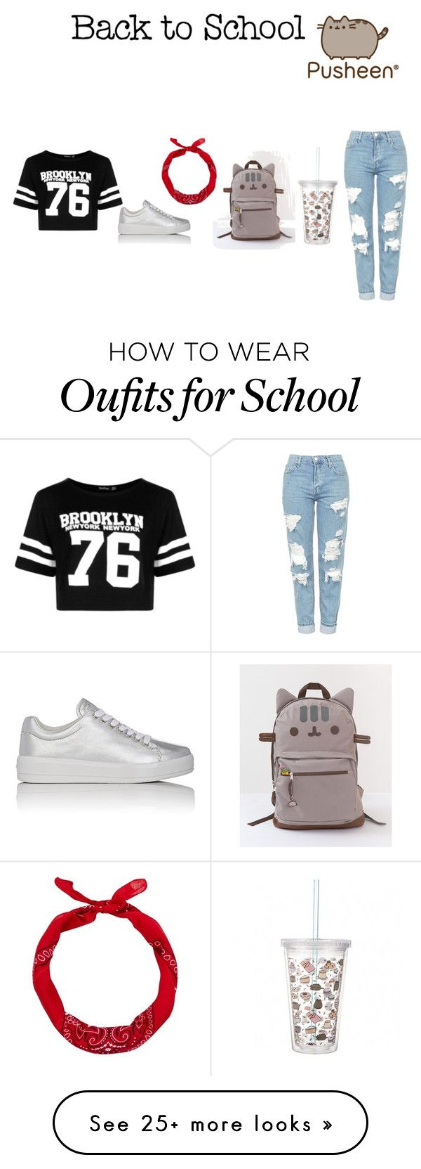 """Back To School"" by oneofthedirectioners on Polyvore featuring Pusheen, Boohoo, Topshop, Prada Sport, New Look, contestentry and PVxPusheen"