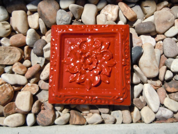 concrete old world decor square tile by concreteyarddecor on etsy 1400 - Concrete Tile Garden Decor