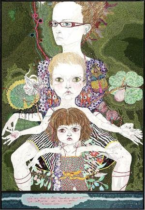 You are what is most beautiful about me, a self portrait with Kell and Arella, by Del Kathryn Barton.