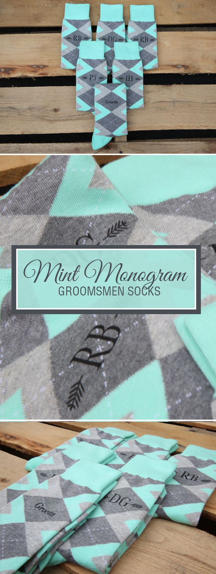 Looking for a way to customize your mint and gray wedding? We are now customizing our most popular wedding colors with wedding dates, wedding text and monograms. Give your groomsmen in your wedding a gift they will never forget that will always remind them of your big wedding day: custom mint groomsmen socks. Shop these mint and gray custom monogram socks and more.