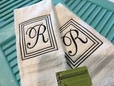 Square Framed Initial Towel Custom Monogrammed Initial on White Towel Hand Towel Bathroom Embroidered Perfect Gift Bathroom Guest Bath towel by NYLAKELLEYDESIGNS on Etsy
