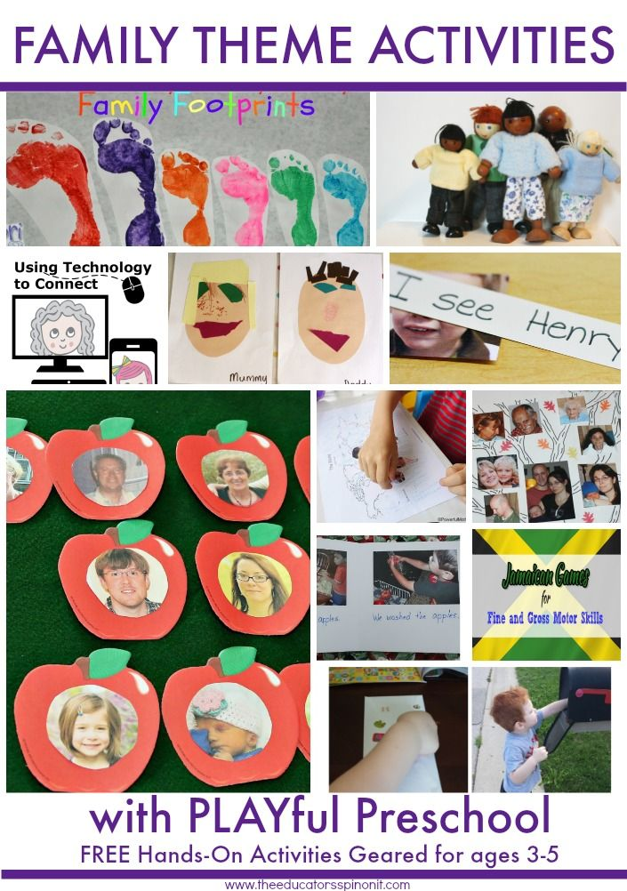 Preschool Activities for Family Theme: Preschool Reading, Preschool Math, Preschool Social Studies.  Make a Family Book, Count with Family, Connect with Family using Technology, Make a Footprint Picture and MUCH MORE!!! The ultimate learning resource. A FREE Week Lesson Plan for Parents, Teachers, and CareGivers