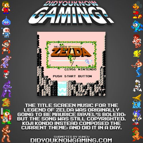 Legend of Zelda Title Screen music was made in a day?
