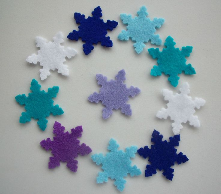 Small Felt Snowflake Die Cut Shapes - x10 - Christmas/Project/Stockings/Frozen