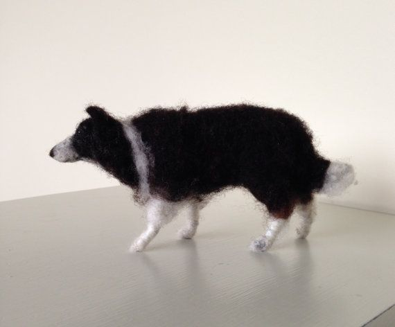 Needle felted border collie dog