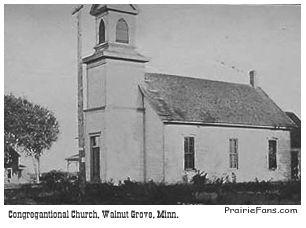 La Iglesia a la que asistían los nIngalls en Walnur Grove, Minnesota. Bastante similar a la que se mostraba en el prigrama de TV, salvo que tenía escaleras de acceso bastante altas.