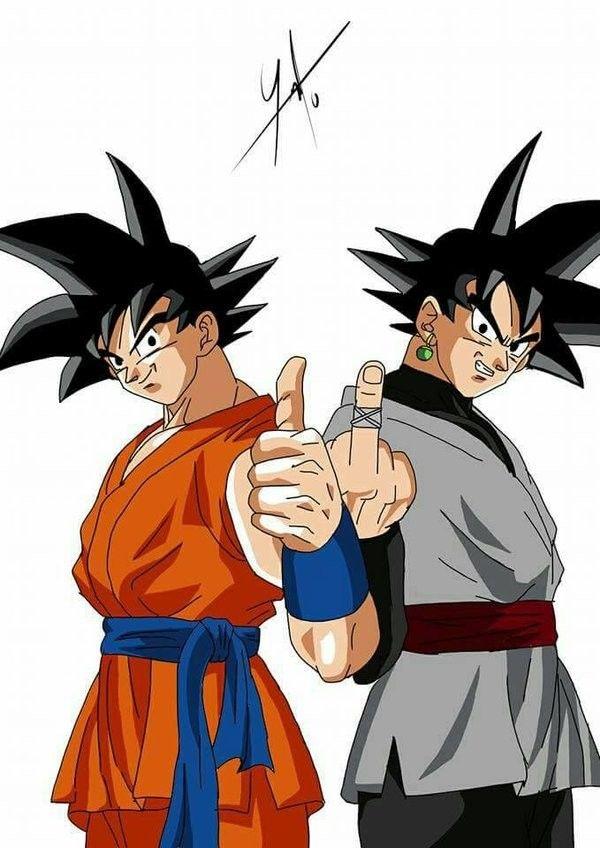 Goku and Goku Black... thumbs and vs fuck you