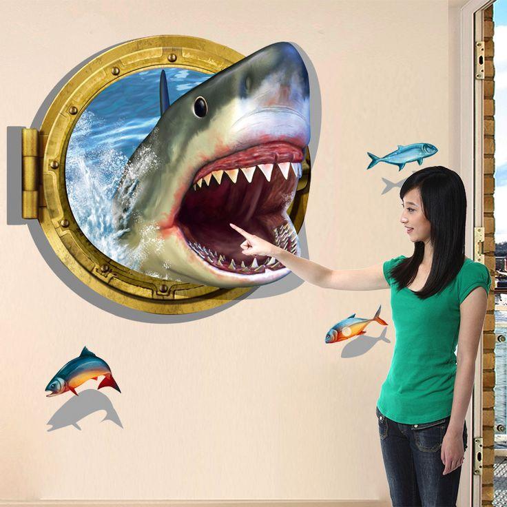 Goedkope Haai 3D Stickers Zitkamer Sofa Slaapkamer Badkamer PVC…