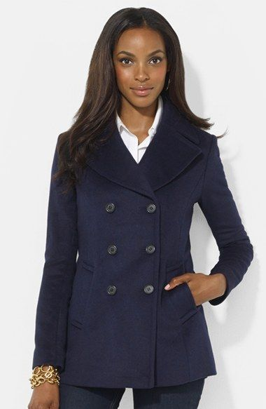 Lauren Ralph Lauren Double Breasted Wool Blend Peacoat available at #Nordstrom