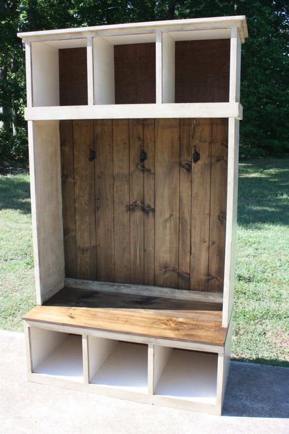 Hall Tree Foyer FREE SHIPPING country Rustic by RedBudPrimitives
