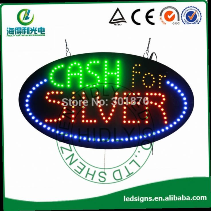 """45.00$  Buy here - http://ali2oz.worldwells.pw/go.php?t=2028988077 - """"Oval LED open sign/High brightness&Low price  Custom LED """"""""CASH FOR SILVER"""""""" open sign/letter with blue edge led open sign"""""""