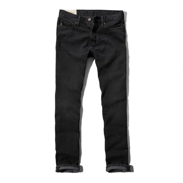 Abercrombie & Fitch Skinny Button Fly Jeans ($47) ❤ liked on Polyvore featuring men's fashion, men's clothing, men's jeans, pants, jeans, men pants, black, mens cuffed jeans, mens skinny jeans and mens skinny fit jeans