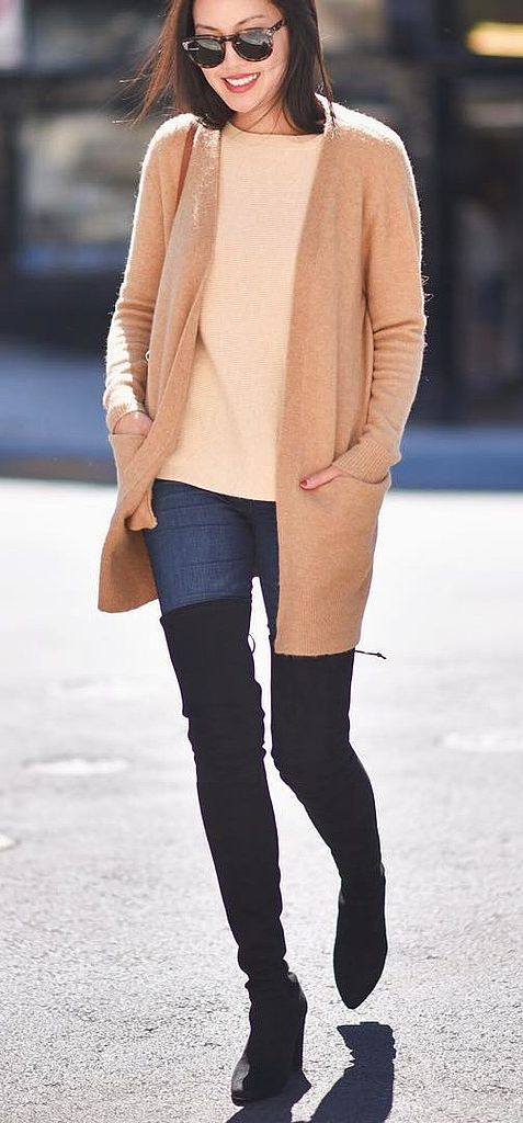 A Cream Sweater, a Light Brown Cardigan, Skinny Jeans, and Black Over-the-Knee Boots