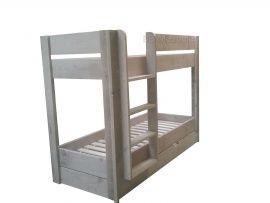 Stapelbed Trio  Stapelbed met in de lade de mogelijkheid voor een 3de slaapplaats. Met een matrasmaat van 200x90cm zijn de afmetingen van het bed lxbxh 206x96x163cm. Met een matrasmaat van 200x80cm zijn de afmetingen van het bed lxbxh 206x86x163cm. Wilt u de ladder rechts of links? Geen probleem.  Het stapelbed wordt zonder lattenbodems geleverd.