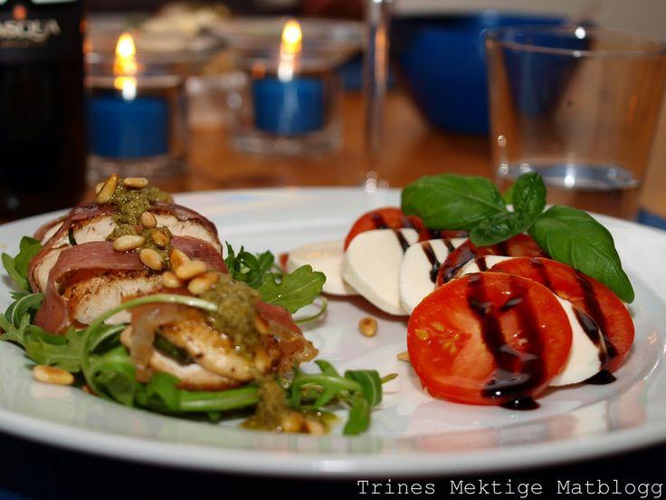 Parmakylling med tomat- og mozzarellasalat