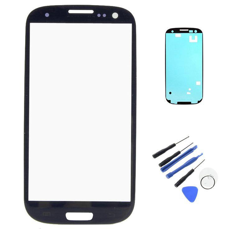 Nouveau Pour Samsung Galaxy S3 I9300 Écran Externe LCD Tactile Avant Lentille en verre Avec Lunette Cadre Ruban Adhésif De Réparation Outils W0F28 P0.4