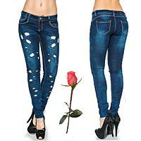 Облегающие джинсы, оформленные перфорацией и стразами  GT 773563 773563