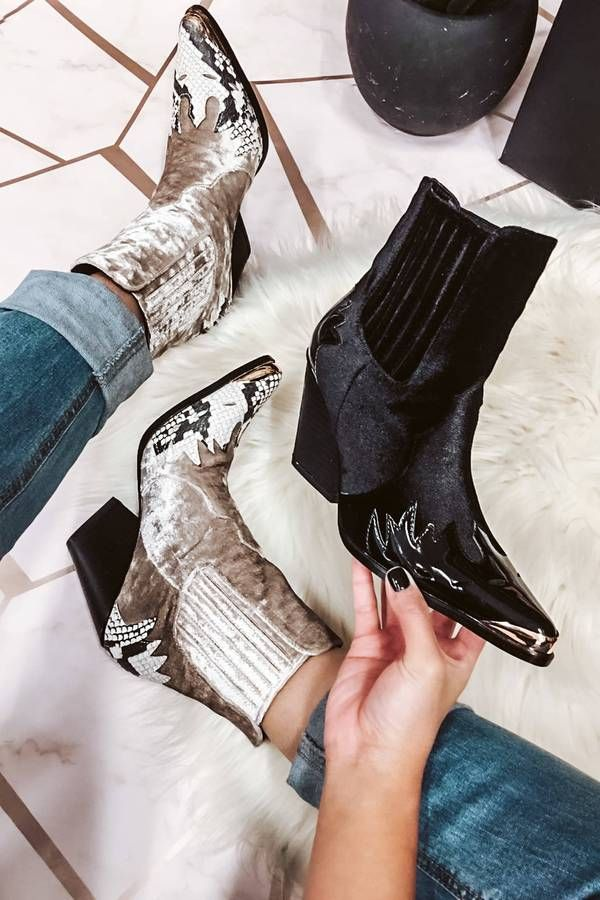 Ankle Boots Pointed Toe Faux Steel-Toe