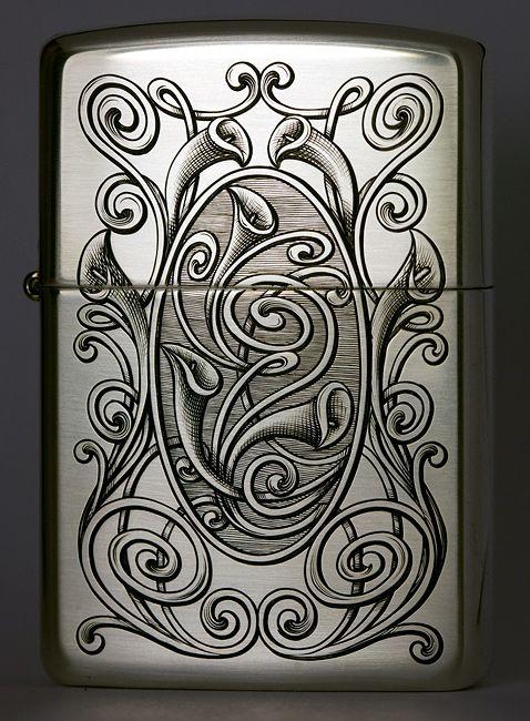 Silver Zippo - Engraving by Viljo Marrandi, Estonia