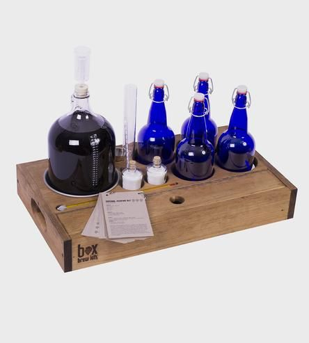 1-Gallon Home-Brewing Kit With Bottles & Compact Wood Case by Box Brew Kits on Scoutmob Shoppe