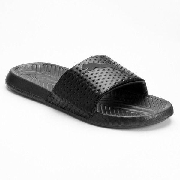 PUMA Popcat Premium Men's Slide Sandals ($20) ❤ liked on Polyvore featuring men's fashion, men's shoes, men's sandals, black, mens black slip on shoes, mens black sandals, puma mens shoes, mens slip on sandals and mens shoes
