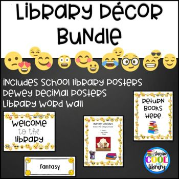 This is a bundle of my White Background Emoji Library Decor. It includes the library posters, the Dewey Decimal System Posters and the Word Wall.