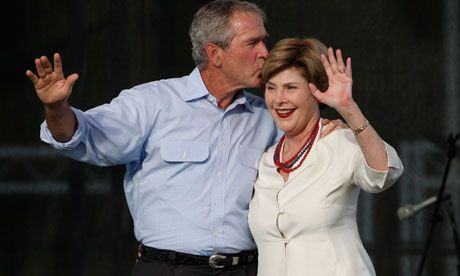 President George W. Bush with wife Laura.