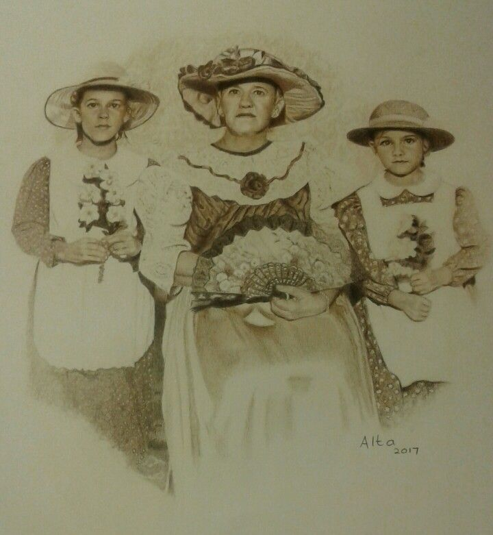 Mom and the girls in 1987. Colour pencils from a photo taken in 1987.