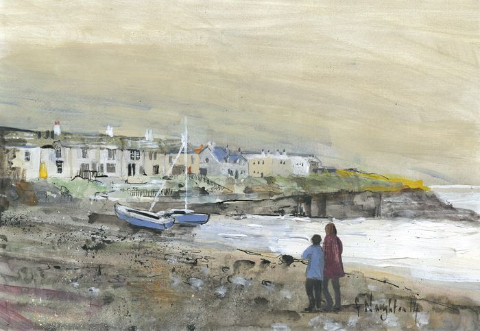 CRASTER HARBOUR  A view of charming, harbour side cottages. The limited edition print was made from an original acrylic painting on paper.     Format: Limited edition Giclee printed on Epson Enhanced Matt 192gsm  Print size: 24 x 35.5cm  Mounted size: 42 x 50.5cm  FREE UK mainland standard delivery on all orders