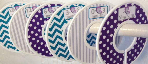 6 Custom Baby Closet Dividers Purple Teal by GinaMarieOriginals