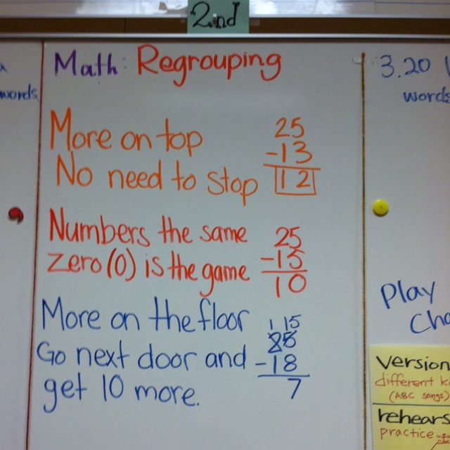 Subtraction regrouping! The kids love chanting it.2Nd Grade