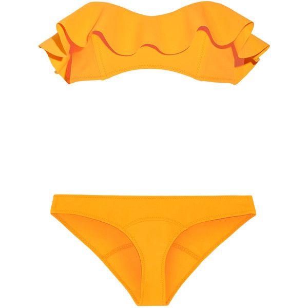 Lisa Marie Fernandez Natalie Marigold Flounce Bikini ($395) ❤ liked on Polyvore featuring lisa marie fernandez, bandeau bikini tops and bandeau tops