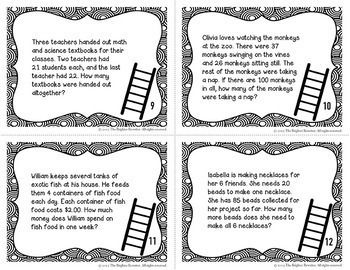 Multi-Step Word Problems Task Cards FREE