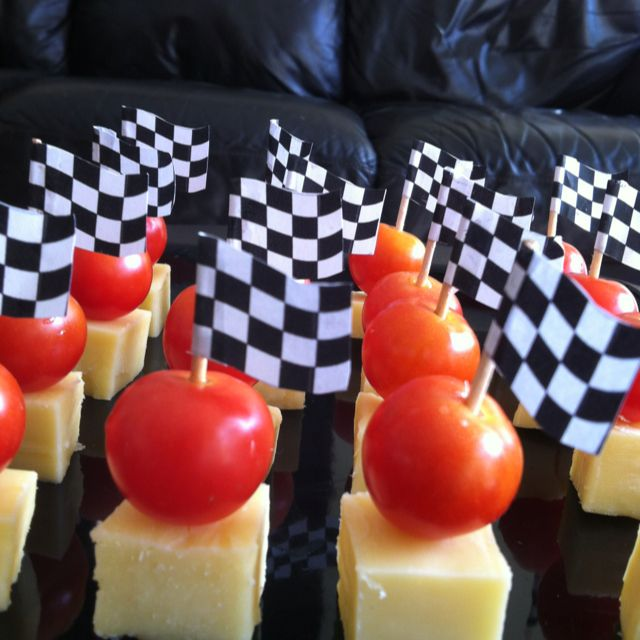 Kids party food - pirate picks instead of racing flags