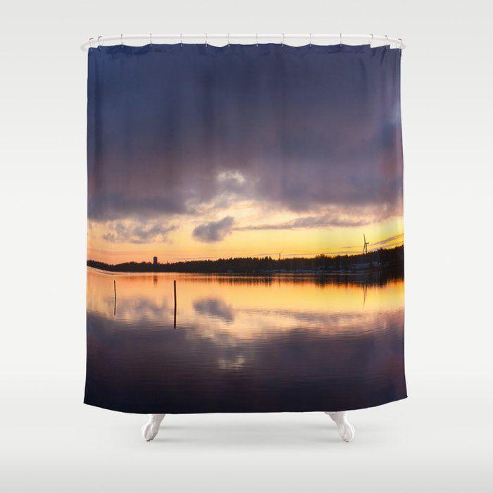 oulu sunset shower curtain shower