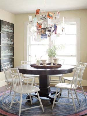 Black table, white chairs.: Dining Rooms, White Chairs, Decor Ideas, Country Cottages, Woods Tables, Maine Cottage, Cottages Decor, Windsor Chairs, Round Tables