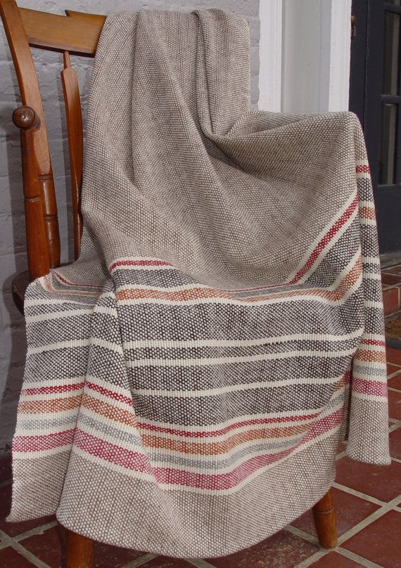 Hand Woven Merino Wool Blanket by NordtFamilyFarm on Etsy with Natural Dyes - made in Charles City VA
