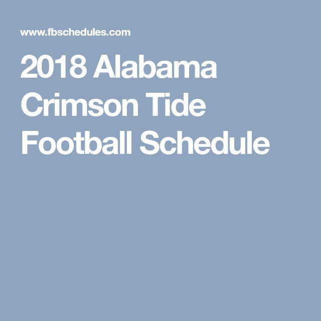 2018 Alabama Crimson Tide Football Schedule