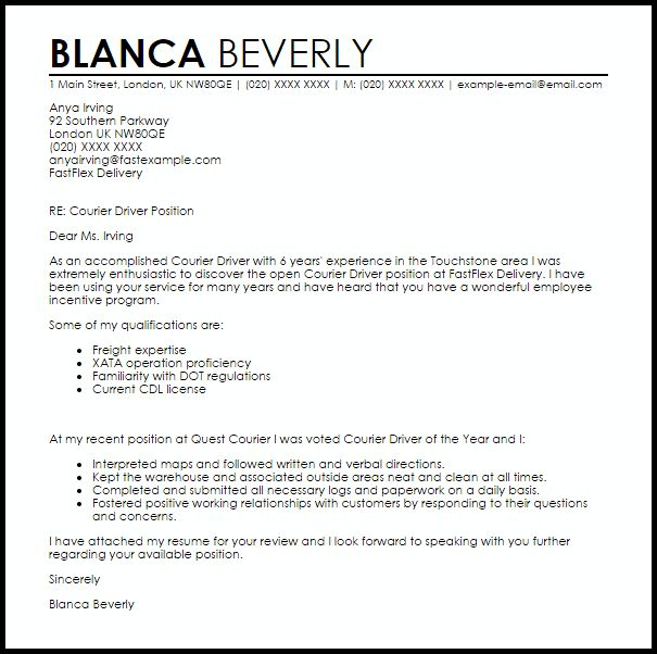 Courier Driver Cover Letter Sample Livecareer Train