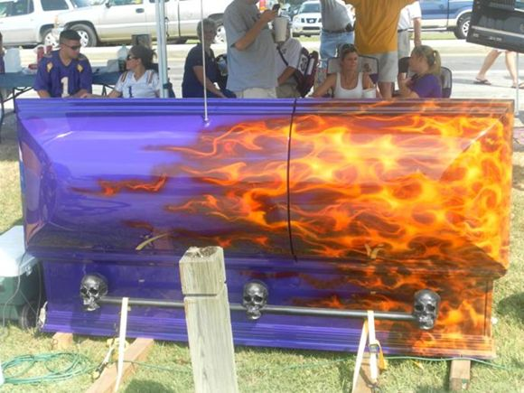 LSU tailgating   LSU Tailgating Hearse BBQ Pit Check out ~ sports stories that inform and entertain RollTideWarEagle.com  #LSU
