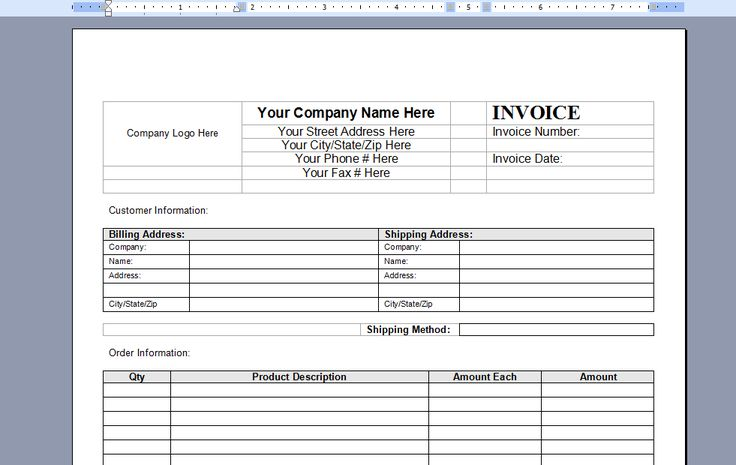 free invoice template word xvo6H8Vh