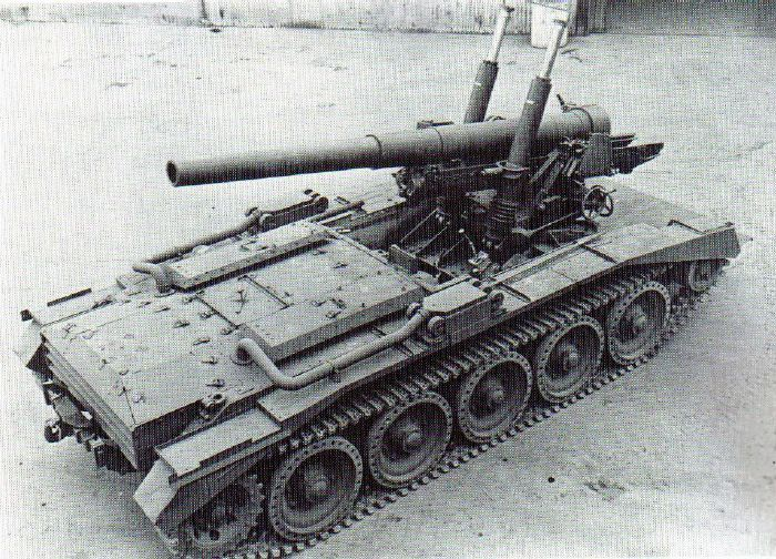 Crusader 5.5 inch gun SP - self-propelled artillery based on Cruiser Mk VI Crusader chassis.