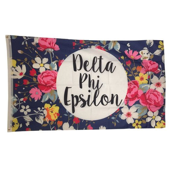 Delta Phi Epsilon Sorority Floral Flag - Brothers and Sisters' Greek Store