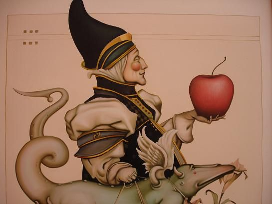 The Joker with an apple and an Iguana - Oil Painting Made in Thailand
