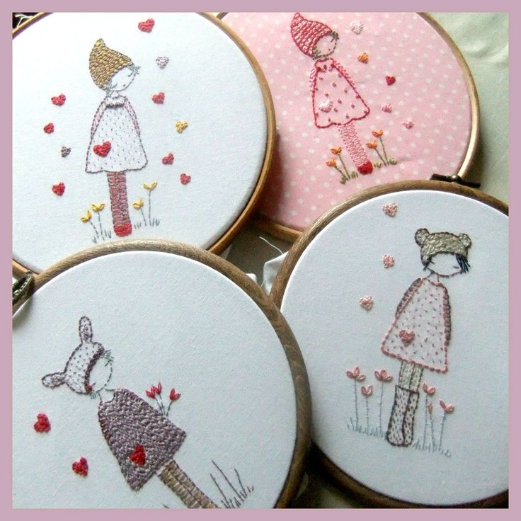 these three little girls are perfect for embroidering in a 5 hoop for framing or perhaps on a little bag or apron pocket. One has bunny ears, one has bear ears and the last has a pixie hat. They are quite simple embroideries using mainly backstitch with a few lazy daisies as flowers. You will receive a pdf file containing the original pattern, the reversed pattern, a cover with pictures and a colour guide. *PATTERN INSTRUCTIONS ARE IN ENGLISH* The pattern is available for instant download…