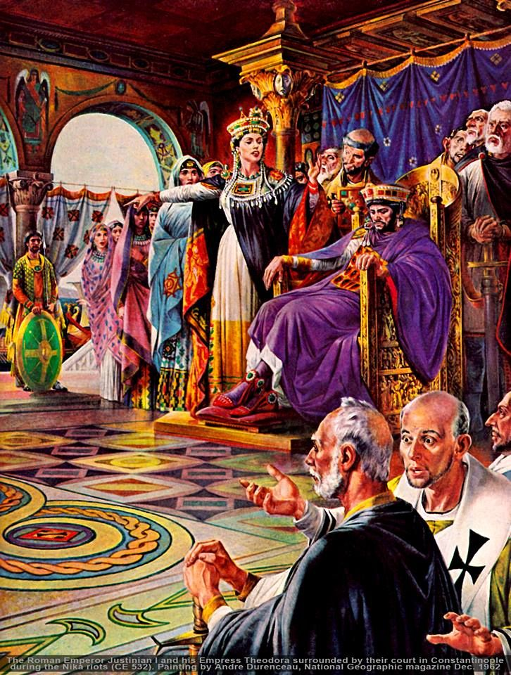 Emperor Justinian I during the Nika Riots, in which Empress Theodora persuades him to fight instead of flee.    Art by Andre Durenceau, National Geographic Magazine Vol. 122, no. 6, Dec. 1962.